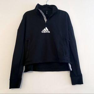 Adidas quarter zip cropped sweatshirt center logo